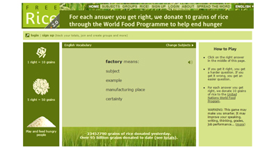 Ampliar vocabulari i ajudar a erradicar la fam del món